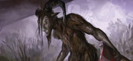 The Pope Lick Monster's extremely deformed man-like body is covered in long fur. Wide set eyes, sharp horns and an aquiline nose frame its alabaster face.