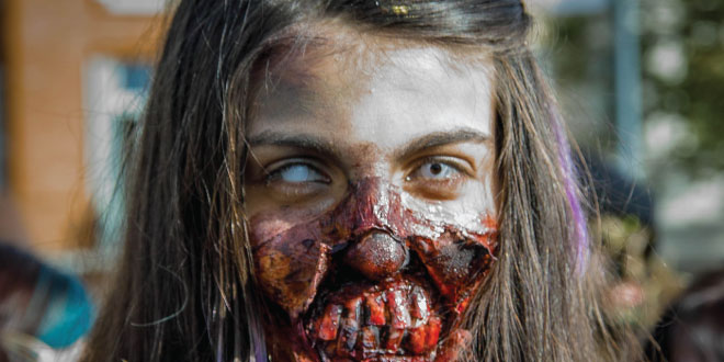 We build up to a full scale simulation of an outbreak in the United States, and discover that for `realistic' parameters, we are largely doomed. - Abstract: S48.00008 : The Statistical Mechanics of Zombies